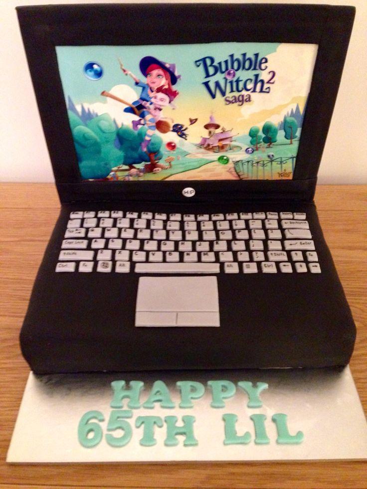 Saga witch laptop cake