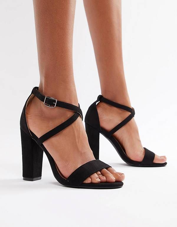 1675a88e9 Glamorous cross strap heeled sandals in black | Shoes in 2019 | Pink ...