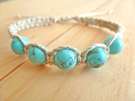 Turquoise Hemp Bracelet. Hemp Anklet. Hippie Bracelet. Boho Jewelry. Natural Jewelry. Eco-Friendly.
