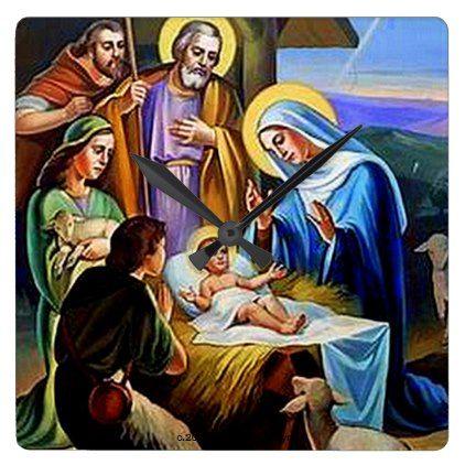 THE NATIVITY #1B SQUARE WALL CLOCK - Xmas ChristmasEve Christmas Eve Christmas merry xmas family kids gifts holidays Santa