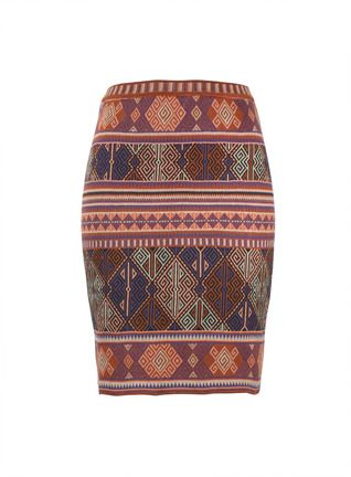 Graphics from an Anatolian kilim are reimagined in sun-baked hues of adobe, taupe, grape and charcoal on the short straight skirt. Jacquard knit of pima (97%) with a kiss of Lycra (3%) for fabulous shape.