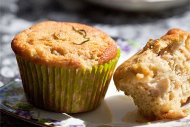 Feijoa and lime muffins recipe, Listener – These muffins are quite tart, with all the fragrance of feijoas and a refreshing tang from the lime juice and zest. – foodhub.co.nz
