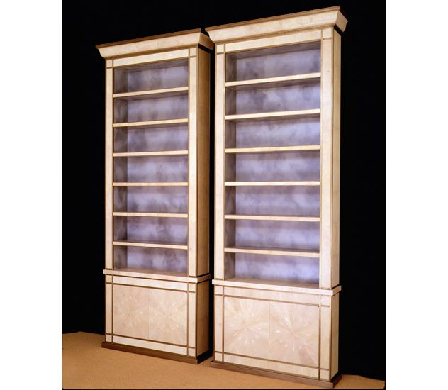 pair of bookcases in shagreen with bronze trim
