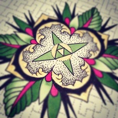 Amanda Cain did this beautiful geometric flower for Green lotus tattoo
