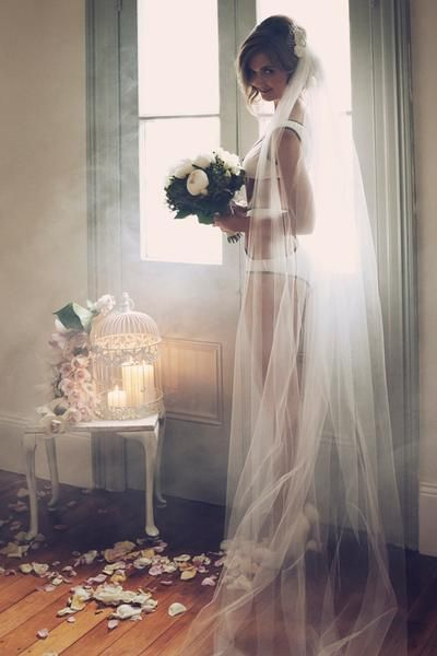 I only want a long veil for some photos like this....    Teeki Rosette Comb & Veil  www.teeki.com.au