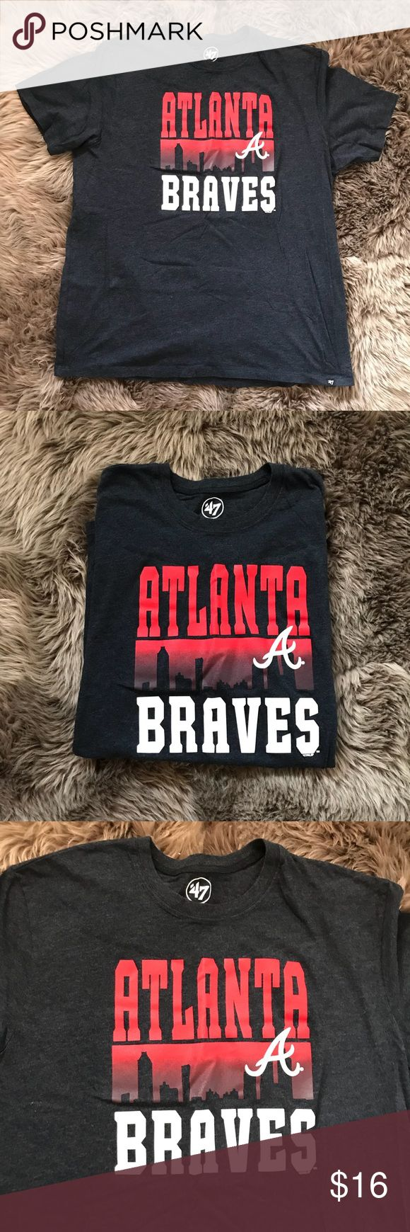 Men's Atlanta Braves Shirt This Men's Atlanta Braves Shirt is Navy Blue with Red/White writing. Only worn once, in excellent condition. Size: XL 47 Shirts Tees - Short Sleeve
