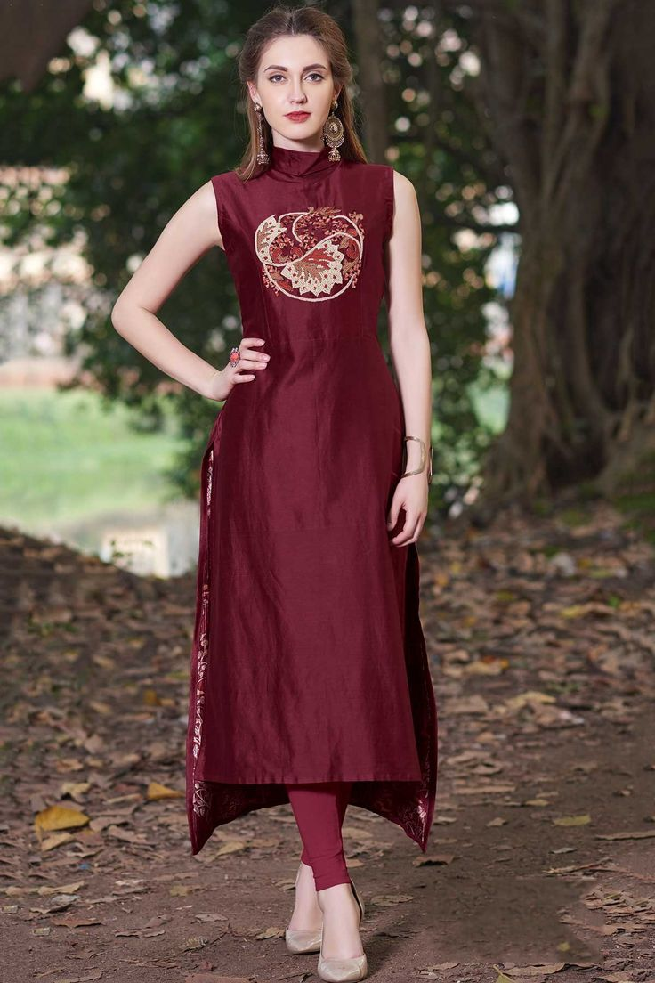 Samyakk Maroon Silk Embroidered High Low Kurti