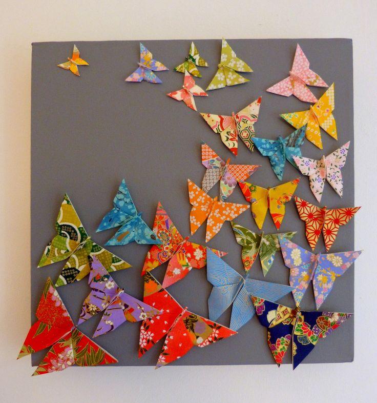 Tableau envol de papillons multicolores en origami : Décorations murales par estampapier