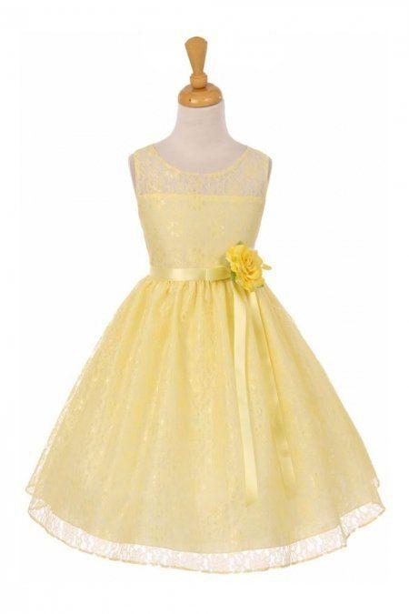 869bbadaf Yellow+Sleeveless+Lace+Dress+with+Oval+Shape+Open+Back+Girl+Dress +KK-6378-YL+on+www.GirlsDressLine.Com