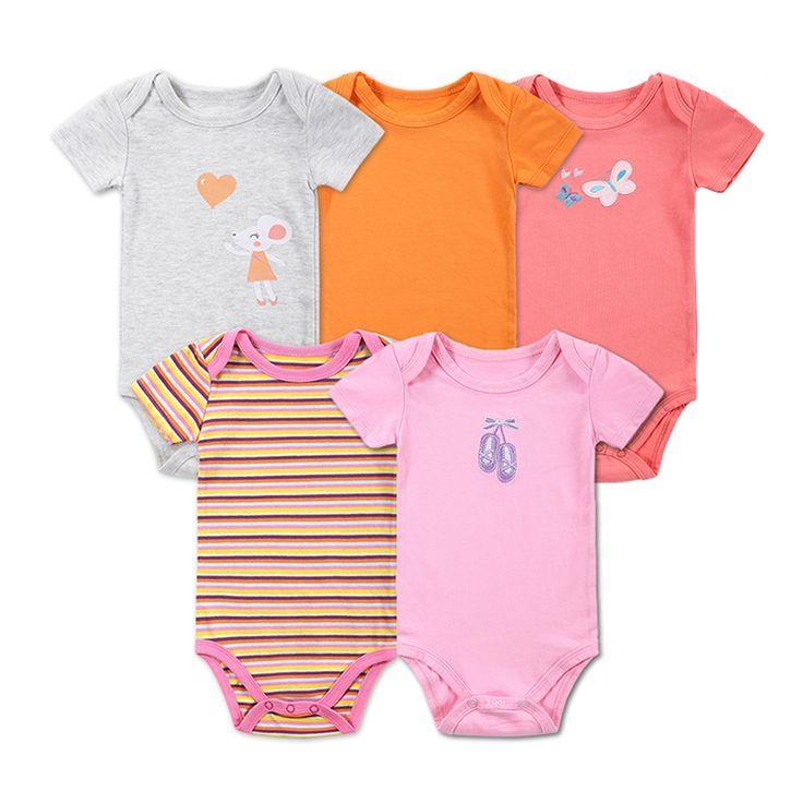5 Pcs/lot Retail Baby Girl Clothes Cartoon Baby Bodysuit Girl Boy 0-12M Infant Short Sleeve Creeper Baby Boy Girl Body Suit