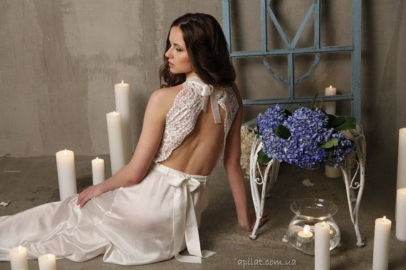 Long Lace Bridal Nightgown With Open Back F5Lingerie