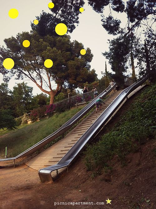 """Monjuic and slides on the mountain. From """"10 things to do in Barcelona with children""""!"""