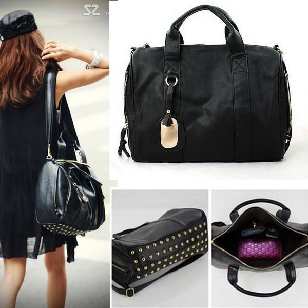 Fashion Women S Large Handbag Rivet Studded Shoulder Bag Purse Tote Travel