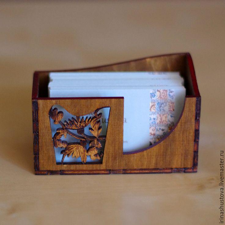 Купить визитница настольная - коричневый, визитница настольная, визитница, подарок на любой случай, подарок, дерево