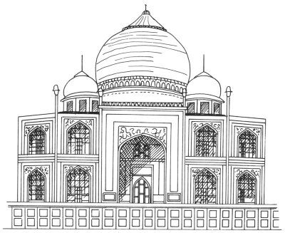 How to draw the taj mahal in 5 steps india travel agra for Drawing for house construction in india