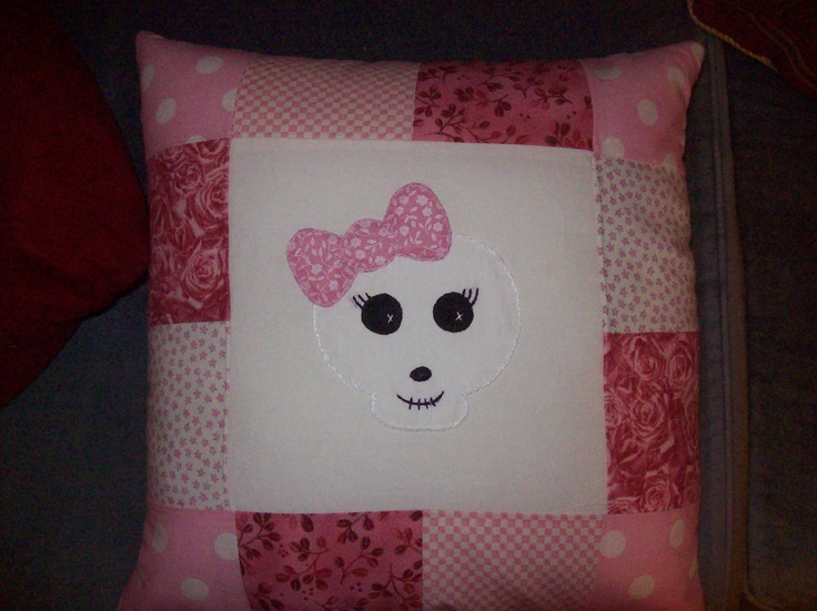Very sweet patchwork cushion, Hand sewn applique girlie skull design.  Please take a look at the items I sell @ www.lemayed-for-you.webs.com, thanks.