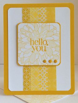 handmade greeting card ... monocrhomatic yellows ... strips of washi tape creat a column ... square panel with the sentiment ... like the dahlia stamp for background texture ... Stampin'Up!