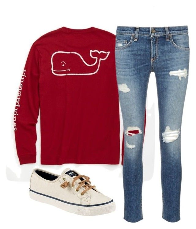 """Chemistry has been hell"" by southernrcharm on Polyvore featuring Vineyard Vines, rag & bone/JEAN and Sperry"