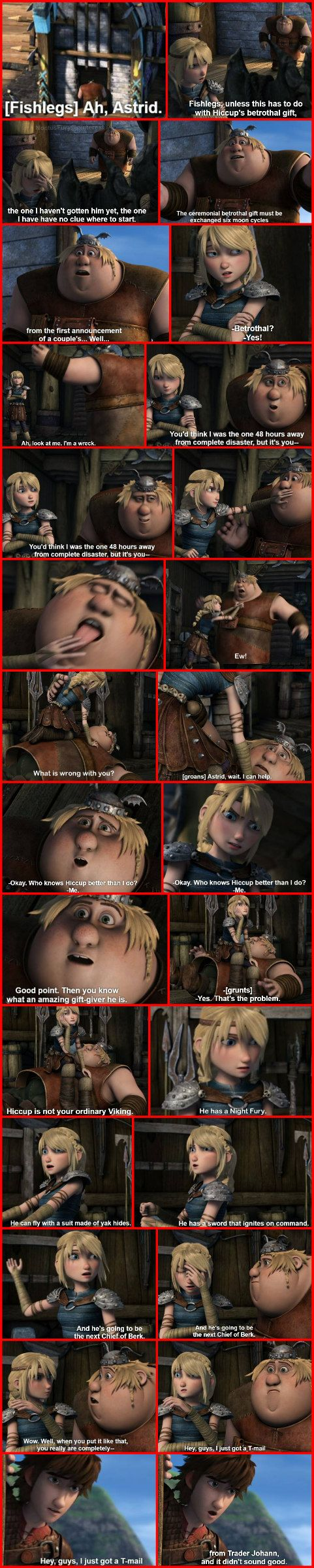 """Full scene of Fishlegs and Astrid talking about finding a betrothal gift for Hiccup in the """"Sandbusted"""" episode."""