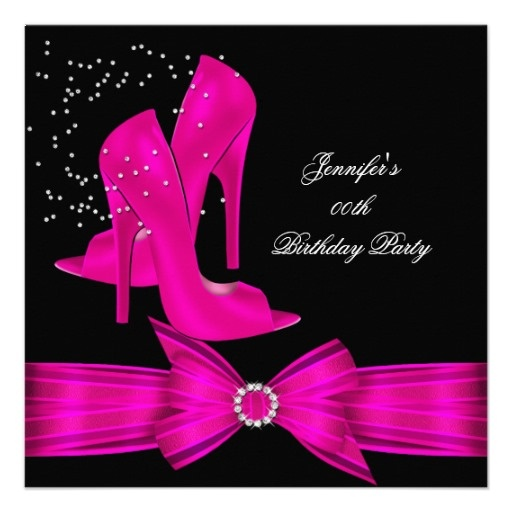 hot pink high heel shoe birthday party card pink high