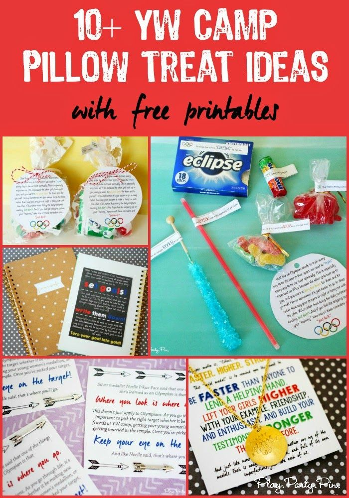 10 girls camp pillow treat ideas with super cute free printables from playpartypin.com