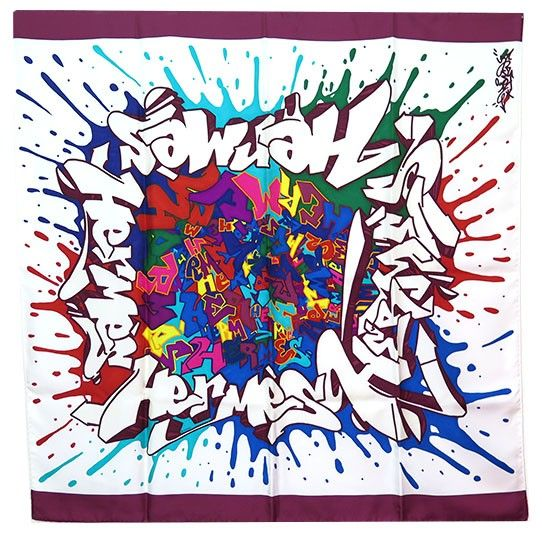 """Hermes Graffiti Bordeaux """"Graff"""" Scarf by Kongo - Rare - This piece is brand new and in pristine unworn condition. The scarf is called """"Graff Hermes"""" by street artist Cyril Phan also known as Kongo. 100% silk, hand rolled and stitched."""