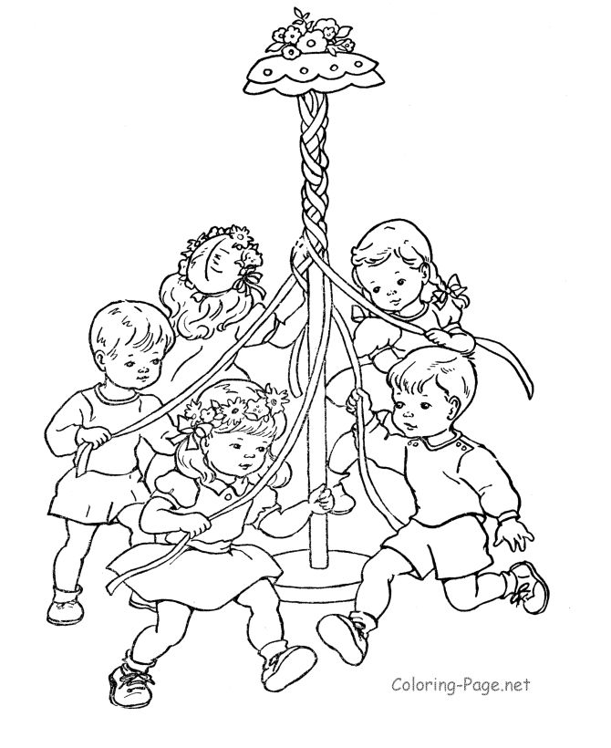 Spring coloring page - The May Pole