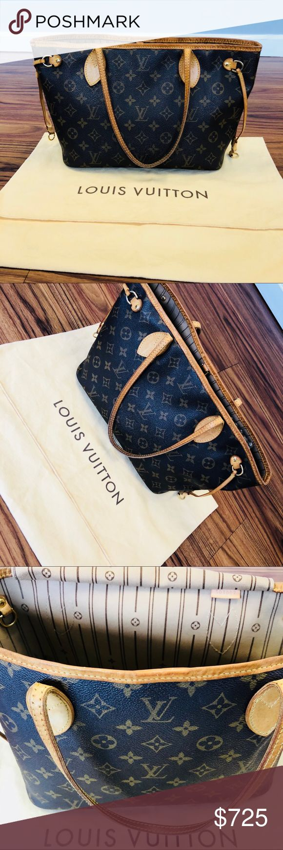 Louis Vuitton Neverfull PM Authentic Louis Vuitton Neverfull PM, very good used condition. Outside very clean, no damages, minor stains inside and peeling in the inside pocket. Comes with dustbag, no box. Poshmark will authenticate for purchases over $500 Louis Vuitton Bags Shoulder Bags