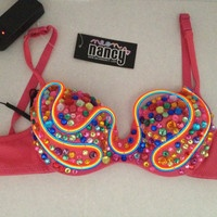 Rhinestone LIGHT UP Bra w/ rainbow crystals and 3 colors of el wire:  Rave ready, Strobe festival bra