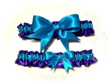 Gorgeous Purple And Turquoise Keepsake Wedding Garter Set Bridal BB