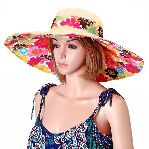 Women Summer Wide Brim Foldable Sunscreen Cap Double-side Outdoor Beach Sun Protective Visor Hat