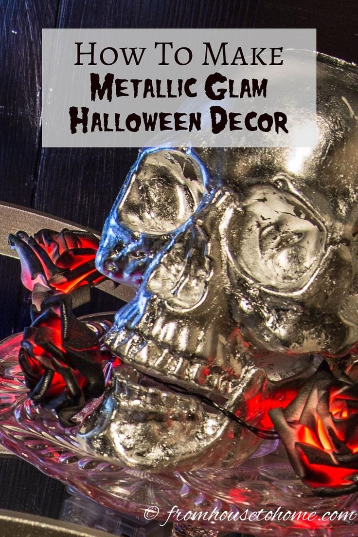 This tutorial for DIY metallic glam Halloween decor is the BEST! I love the silver skull! Now I know what I'm going to do for my Halloween party this year! Definitely pinning!