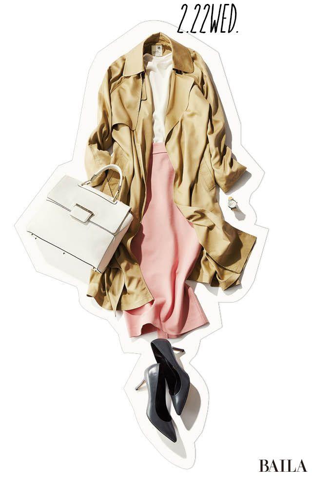 デートの日にうってつけ♡ 春色ピンクスカートで、白ブラウスを格上げコーデ!-@BAILA ワタシを惹きつける。モノがうごく。リアルにひびく。BAILA公式サイト HAPPY PLUS(ハピプラ)集英社