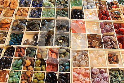 Gemstones jewelery - placed in plastic squares.