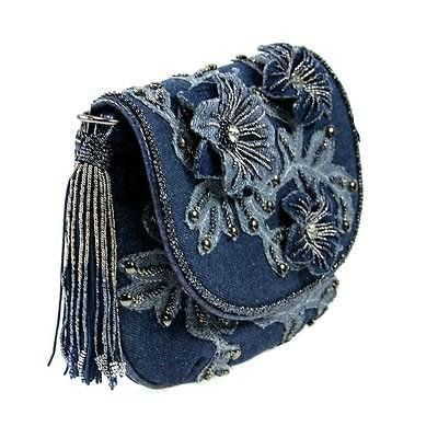 Mary Frances Good Jeans Mini Denim Blue Flower Mini Bag