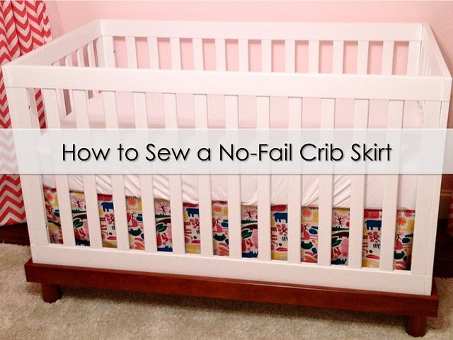 How to Sew a No-Fail Crib Skirt | It's Great To Be Home This can be done without sewing machine. Tie the skirt onto the mattress support.