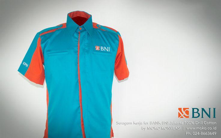 Baju Seragam Terbaru Bank BNI Jakarta [Jakarta - Indonesia] Update baju kerja anda dengan desain baju seragam terbaru Bank BNI Jakarta. Desain ini, siap memberikan gaya smart pada tampilan formal anda | model baju seragam kantor warna biru orange