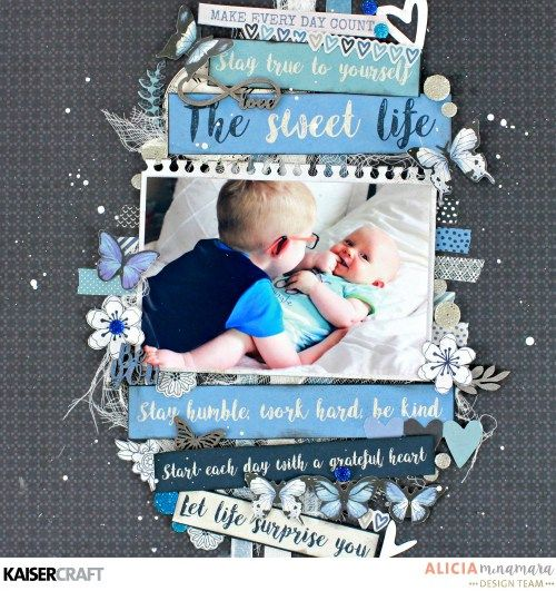 'Life Advice' Masculine Layout by Alicia McNamara Design Team member for Kaisercraft Official Blog & using their new April 2017 collection 'Indigo Skies' Learn more at kaisercraft.com.au/blog ~ Wendy Schultz ~ Scrapbook Layouts.