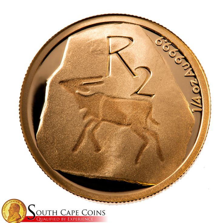 The 2012 R2 (1/4 Oz) Gold coin depicts Khoisan art in the form of an Eland rock engraving. The Eland is a very important animal to the Khoisan and symbolizes well being and healing. The Khomani San people of the Witdraai community created the original stone carving from which the model for this coin was prepared. #Coins #SouthAfrica #GoldR2