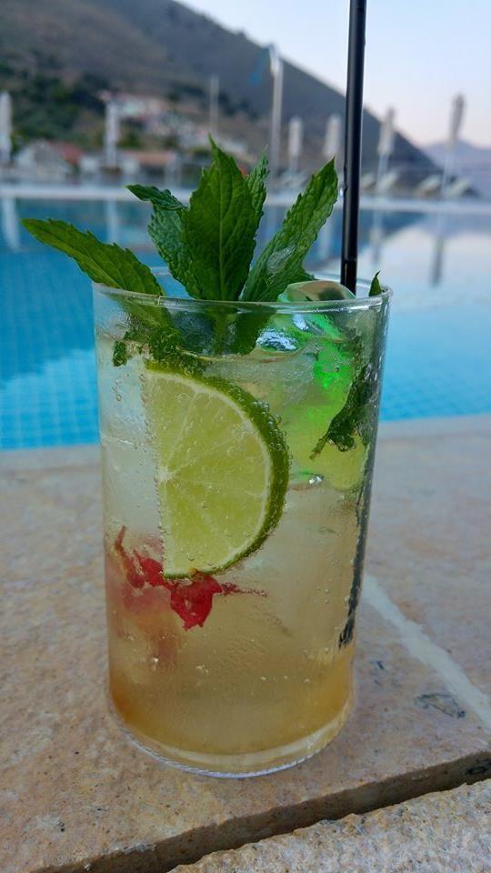 Greek Mojito, Mnistires Bar Restaurant, Odyssey hotel, kefalonia, Greece