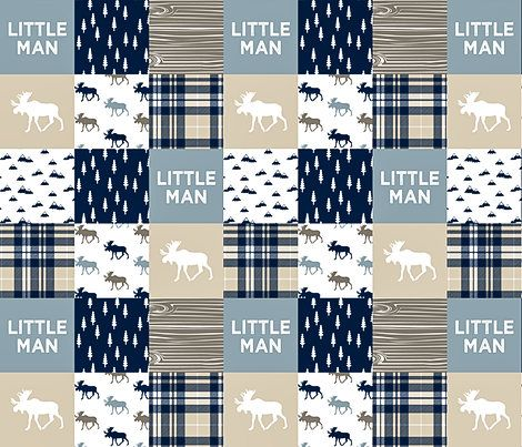 Rustic Baby Bedding, Minky Baby Blanket, Little Man Baby Quilt, Baby Boy Quilt, Woodland Baby Quilt, Tan Navy Blue, Moose Plaid Patchwork