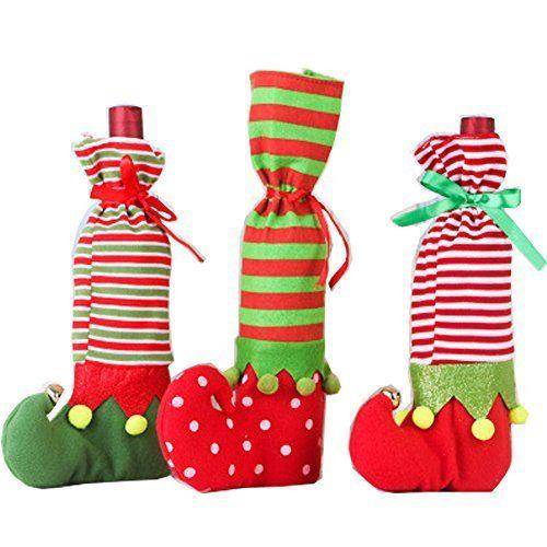 Sourcingmap Lot de 3Elfe de Noël chaussettes Père Noël Sac Bonbons Candy Elfe Sac à bouteille de vin bouteille: Matériaux: tissu,…