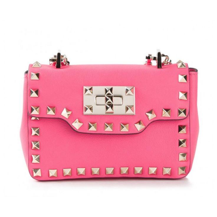 Valentino Garavani Rockstud Hot Pink Leather Clutch HWB00552
