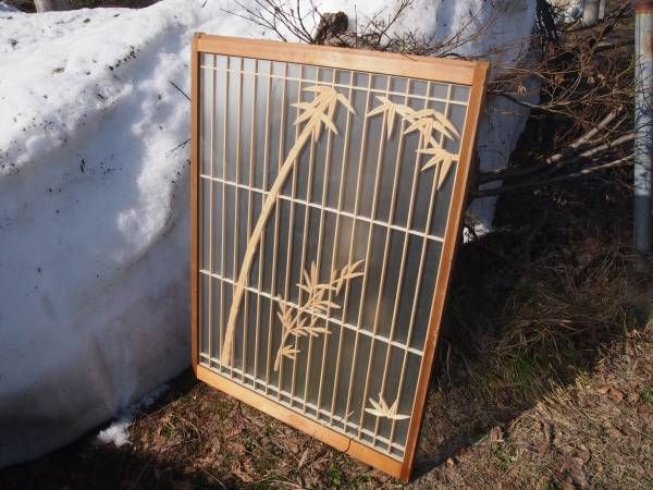 山奥の旧家より  ガラス付きの欄間 1枚 笹の葉 竹_画像1