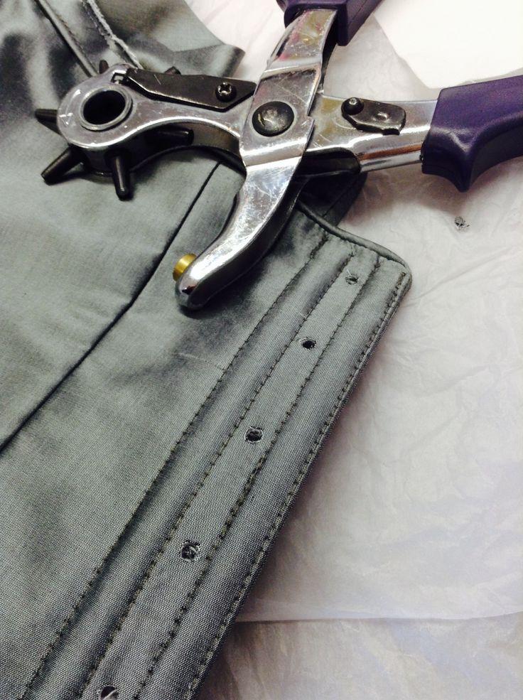 Bespoke silk corset - eyelet insertion for lace up back