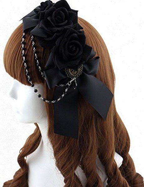 [レジーナ] LEGINA リボンと薔薇の カチューシャ型ヘッドドレス ブラック 高品質 ゴシック・ゴスロリファッションに 女性用アクセサリー [CS-LE-0147]