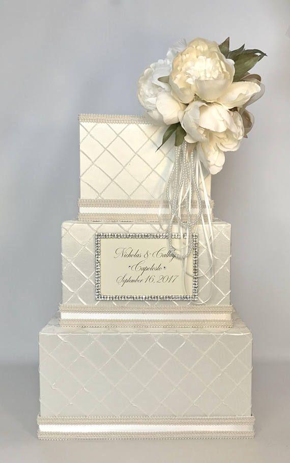 Personalized Wedding Card Box Peony Ivory White