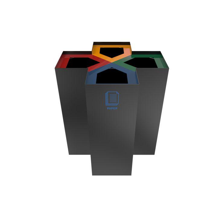CHANI PC - Modern powder coated metal recycling bin center