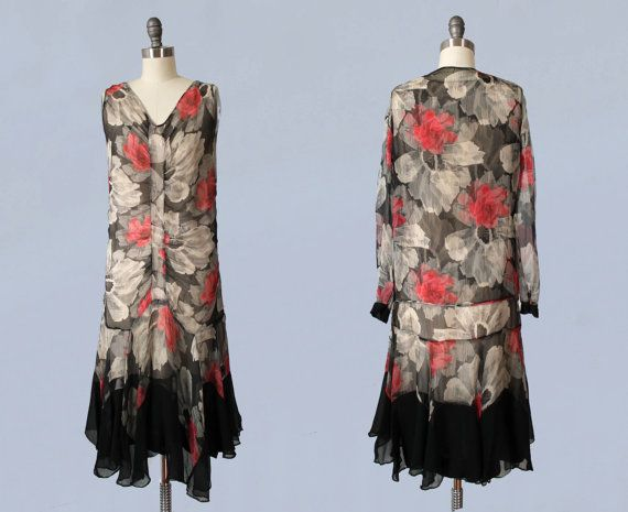 RESERVED 1920s Dress / 20s Chiffon Floral by GuermantesVintage