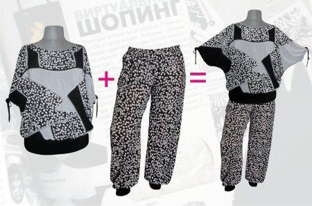 Купить летний брючный костюм для полных женщин в интернет-магазине в мелкий цветочек: блузка свободного покроя + брюки шаровары